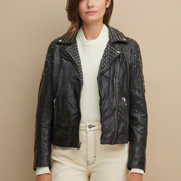 Black Leather Jacket With Metal Studs for Women