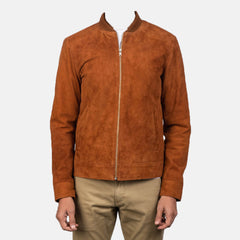 Mens Blain Brown Suede Bomber Jacket