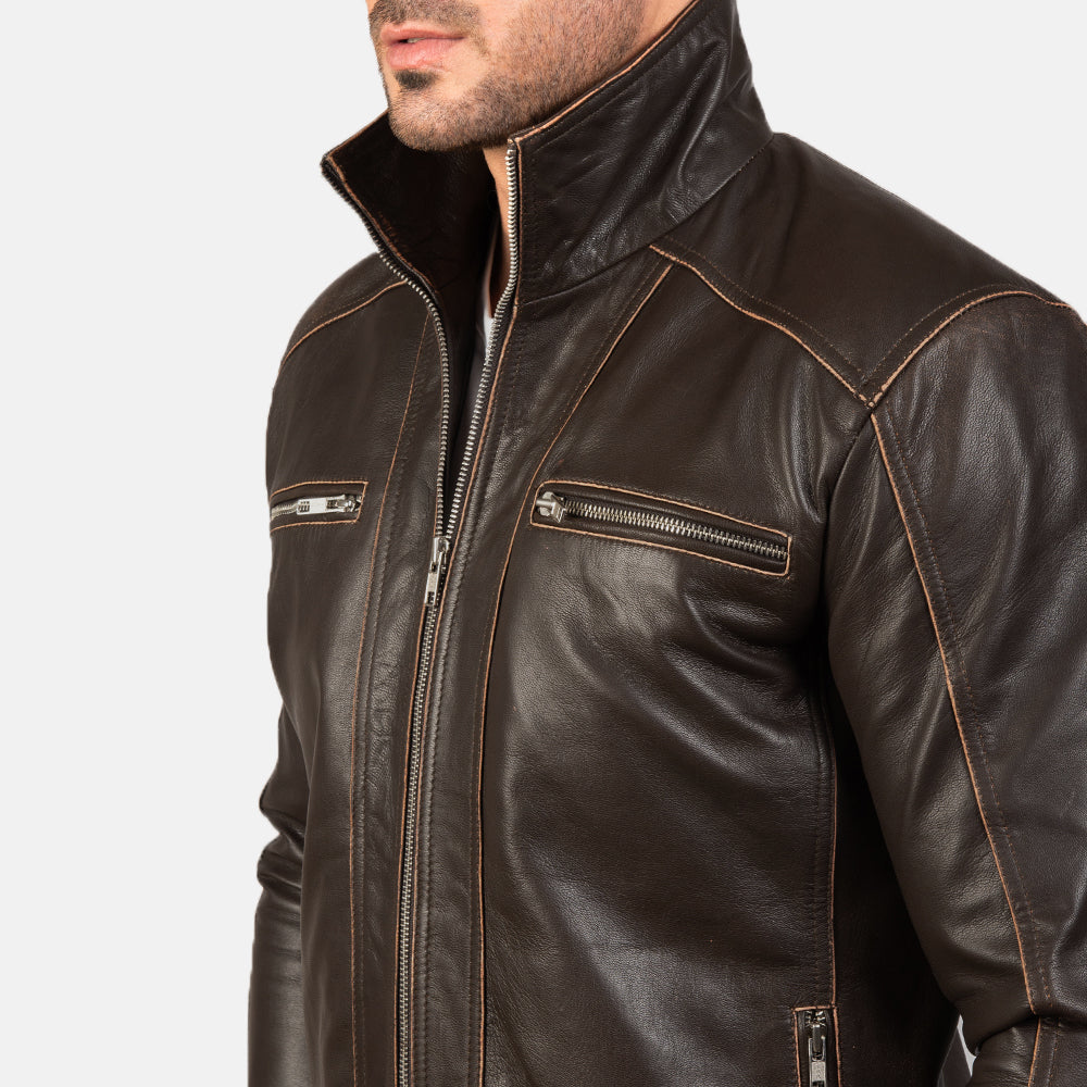 Hudson Brown Leather Biker Jacket