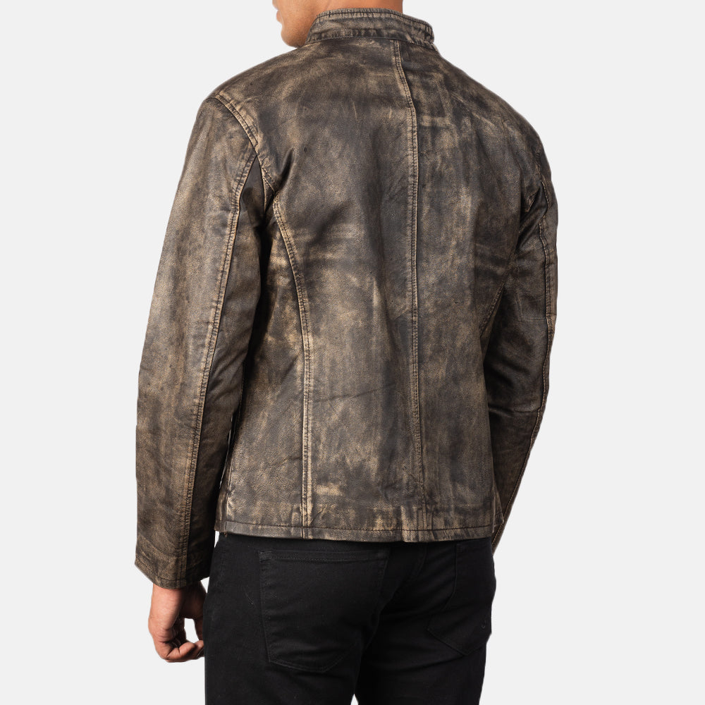 Alex Distressed Brown Leather Biker Jacket