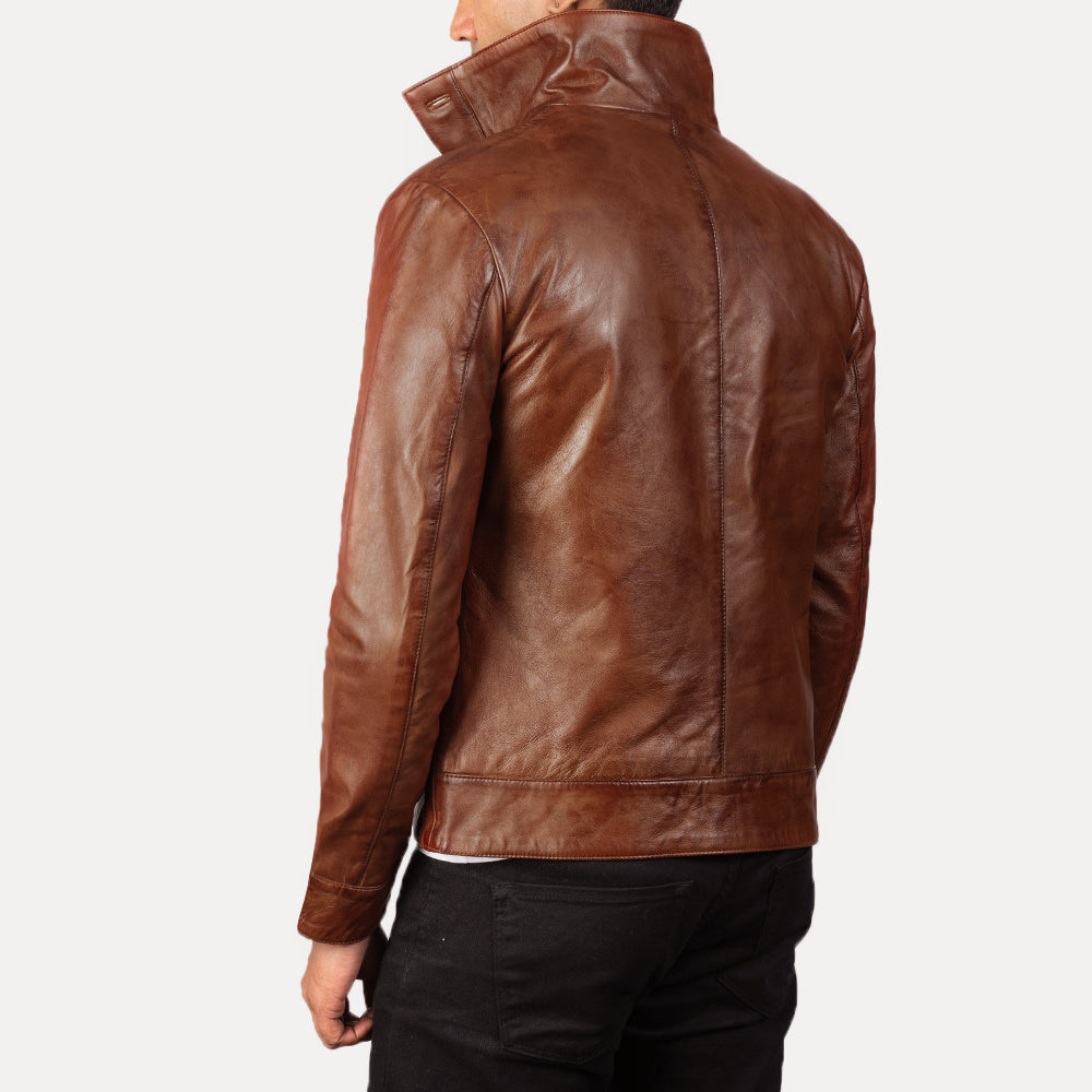 Columbus Brown Leather Bomber Jacket