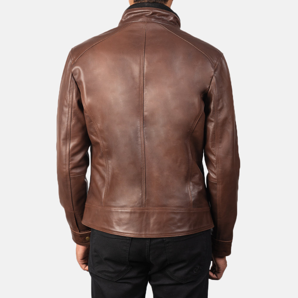 Darren Brown Leather Biker Jacket