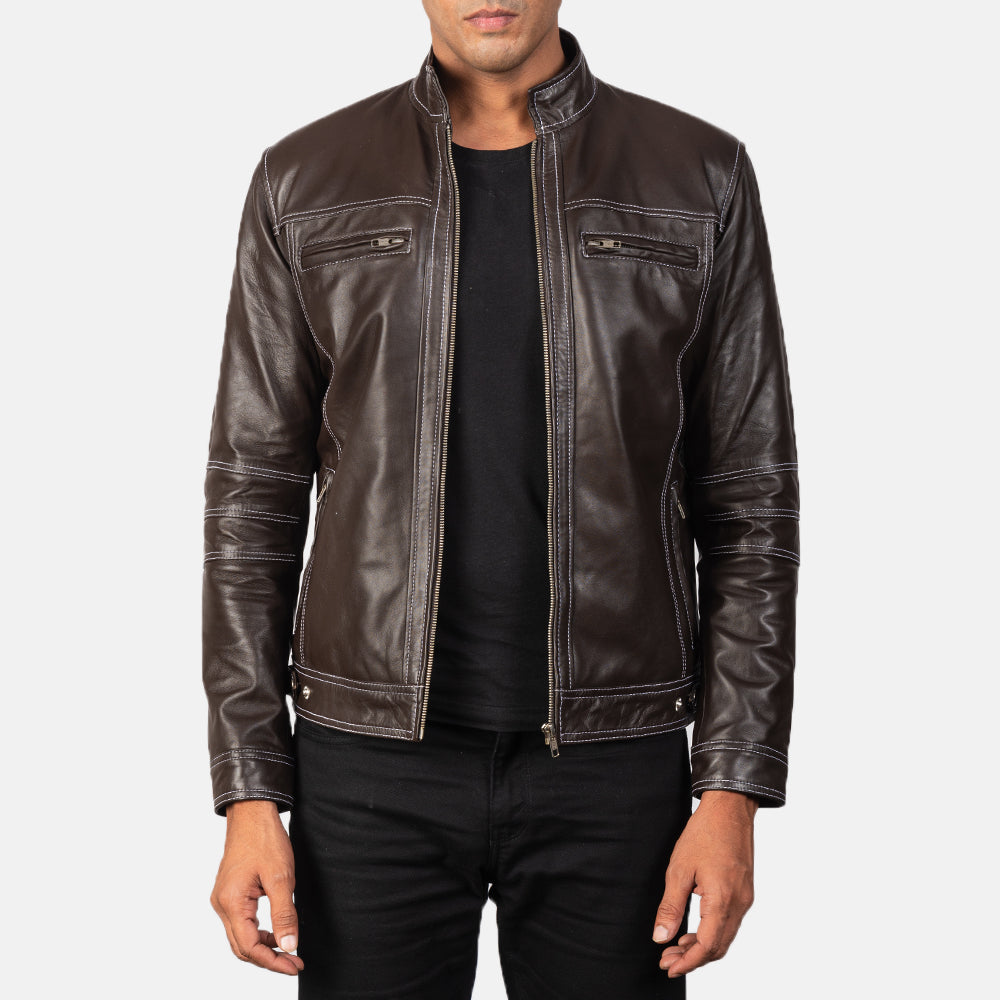 Youngster Brown Leather Biker Jacket
