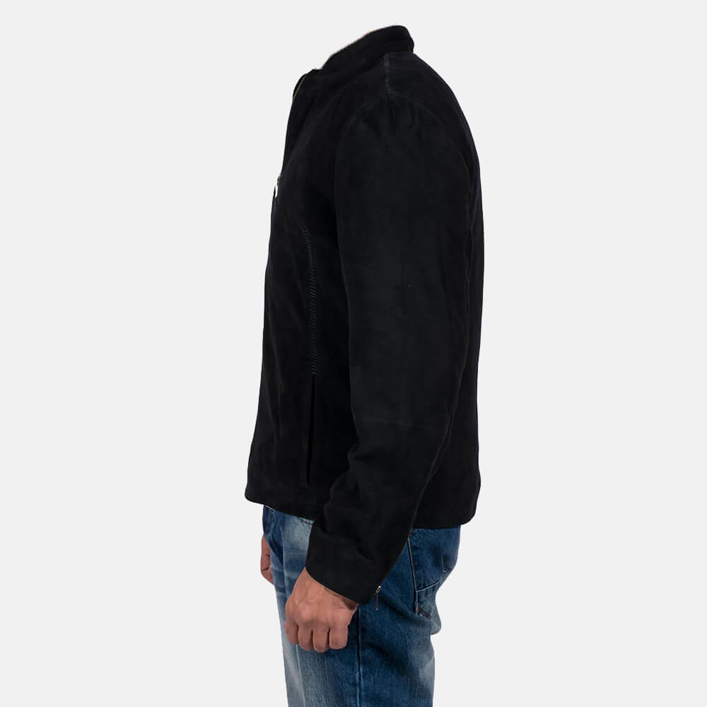 Mens Charcoal Black Suede Biker Jacket