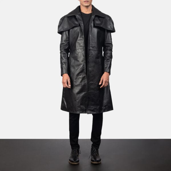 Classic Black Leather Duster for Men