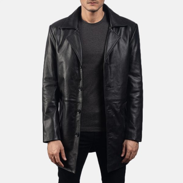 Classmith Black Leather Coat for Men