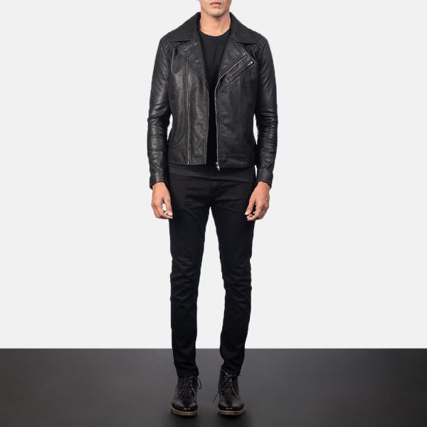 Danny Quilted Black Leather Biker Jacket for Men