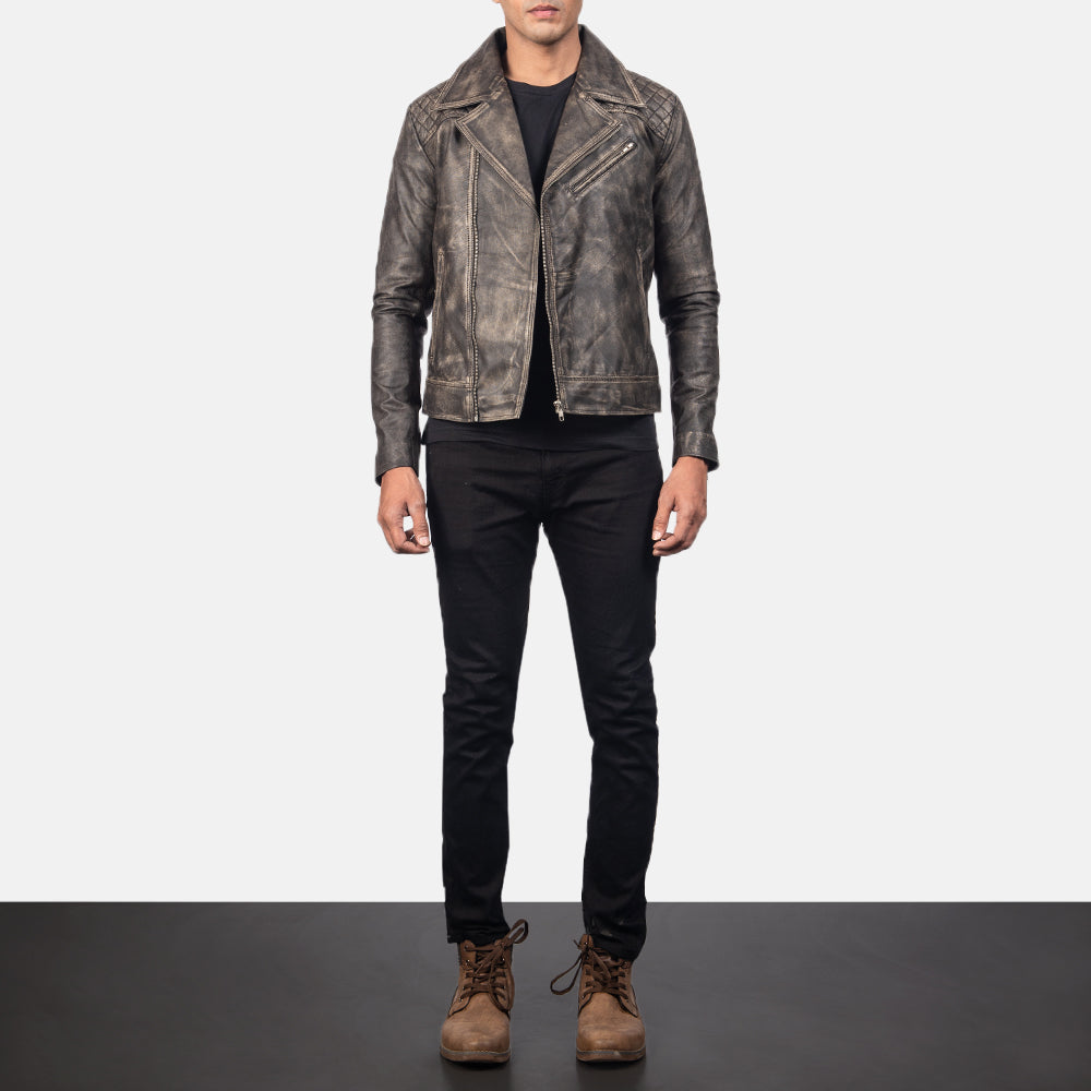 Danny Quilted Brown Leather Biker Jacket