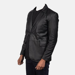 Daron Black Man Leather Blazer Jacket