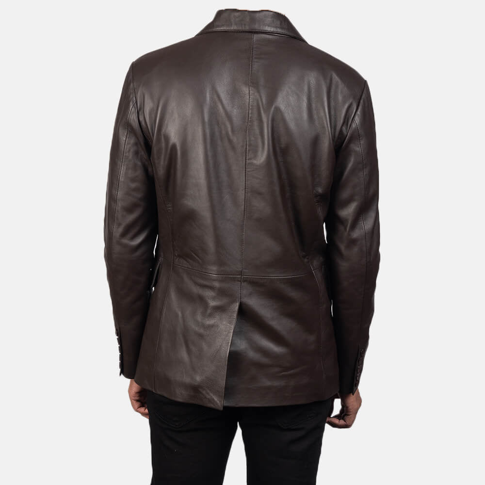 Daron Brown Leather Blazer Mens