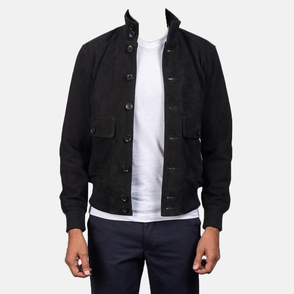 Mens Eaton Black Suede Bomber Jacket