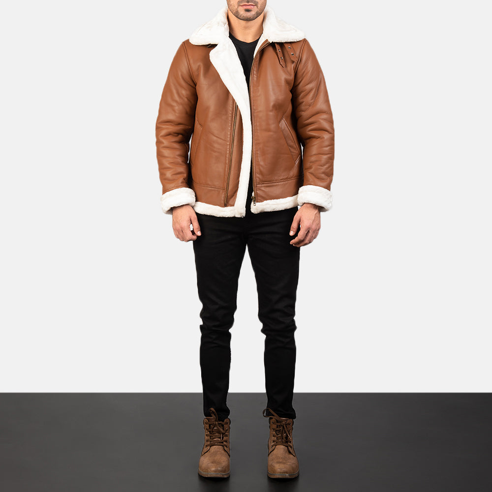 Francis B-3 Brown Leather Bomber Jacket