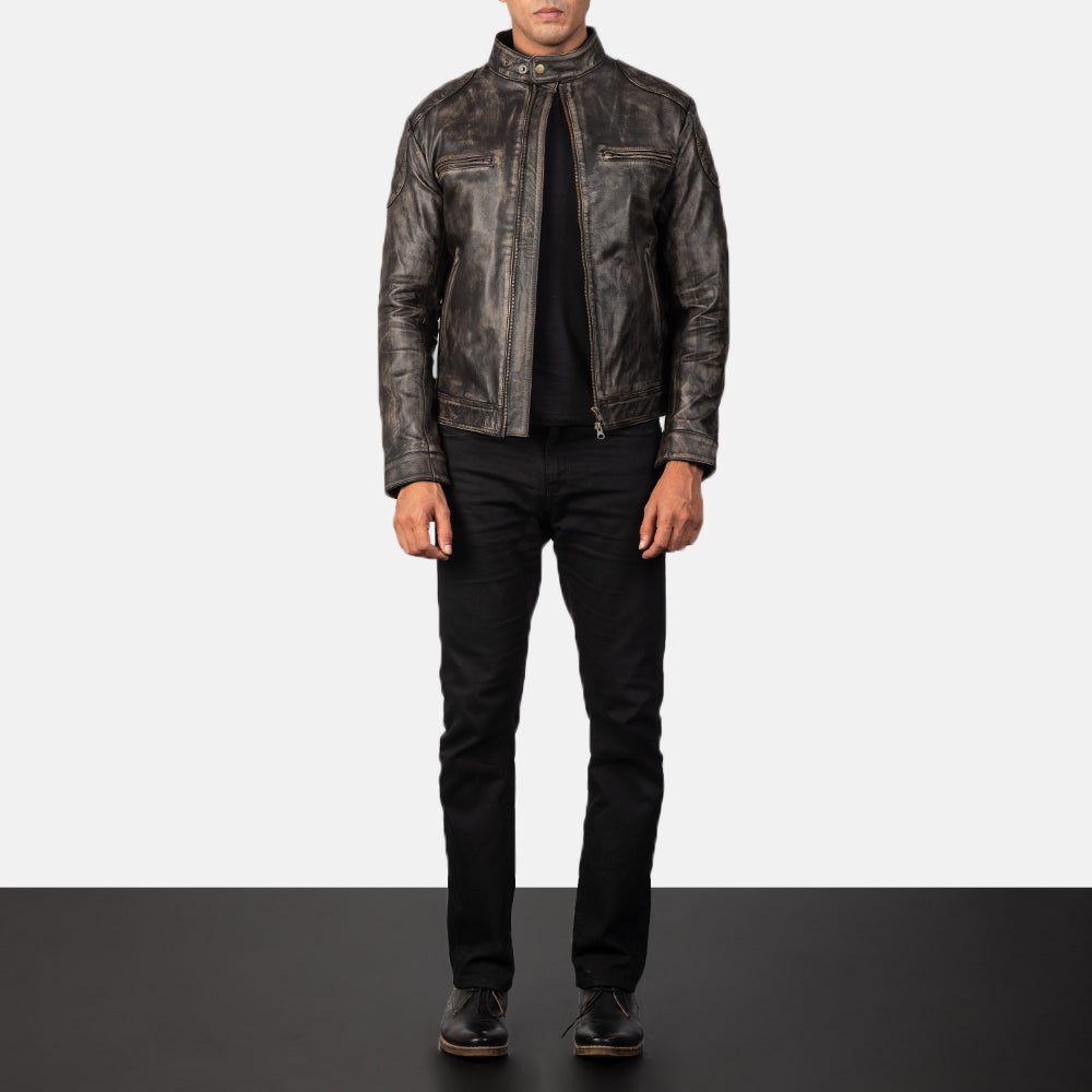 Gatsby Distressed Brown Leather Jacket