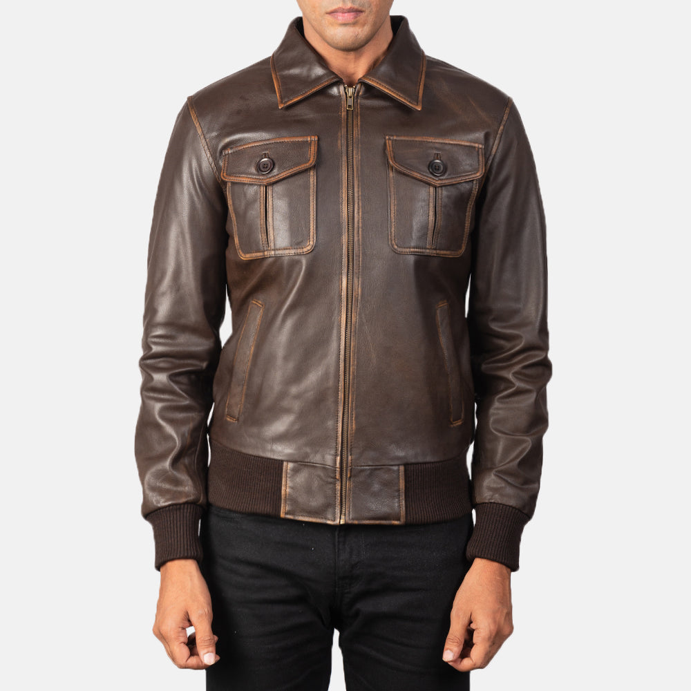 Aaron Brown Leather Bomber Jacket for Men