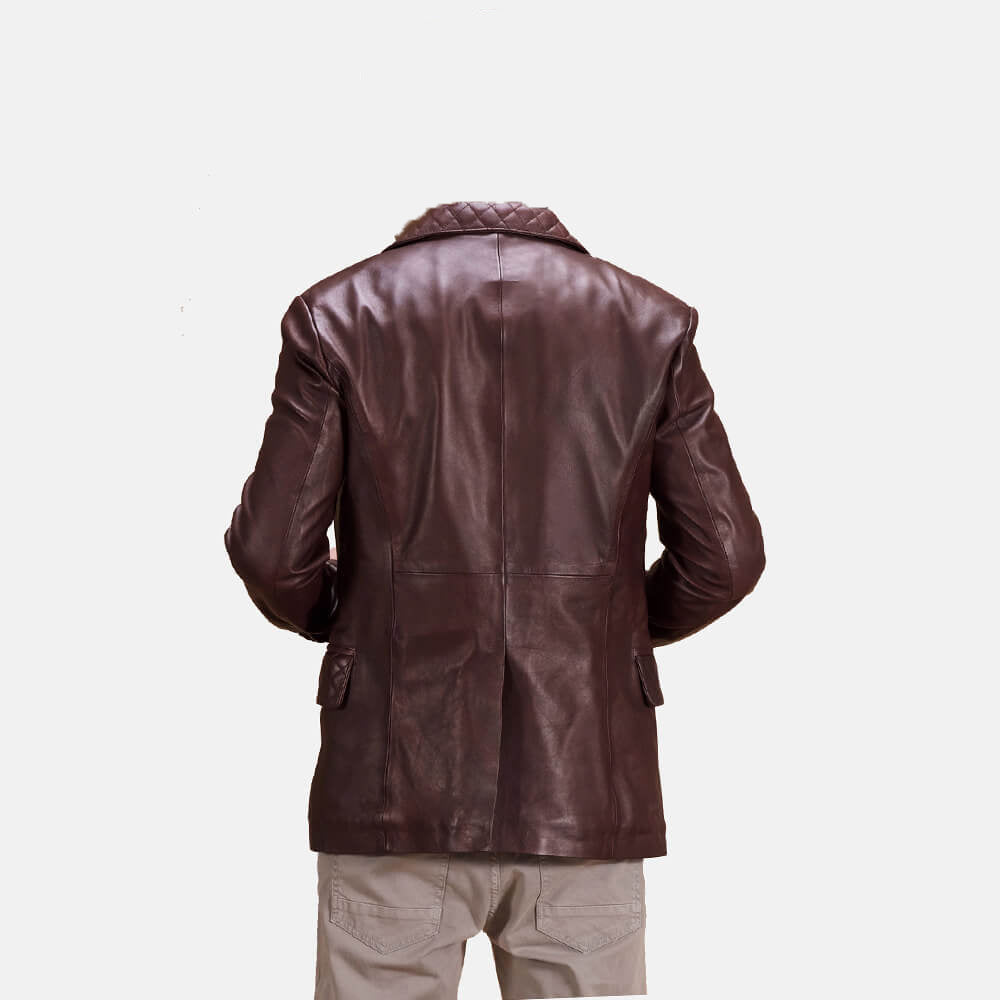 Radaron Quilted Maroon Mens Leather Blazer