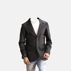 Alyson Black Men Leather Blazer