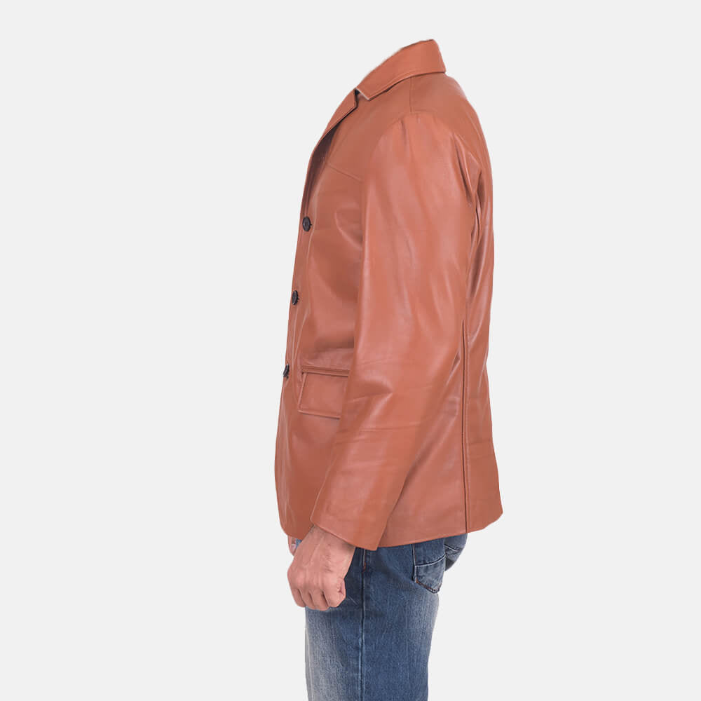 James Tan Brown Leather Blazer