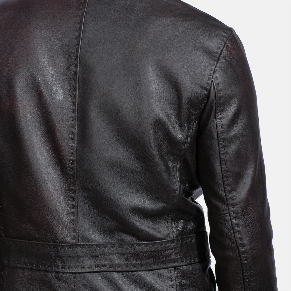 Wine Black leather blazer men