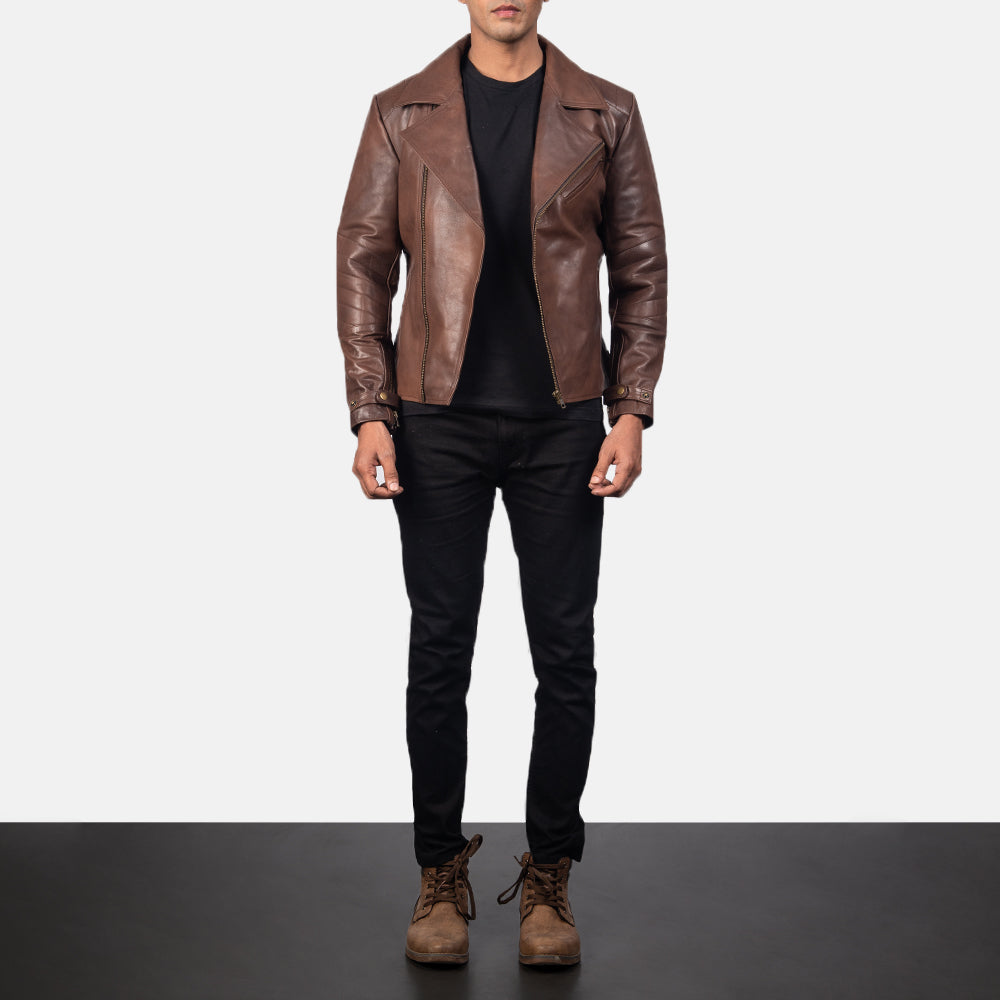 Raiden Brown Leather Biker Jacket