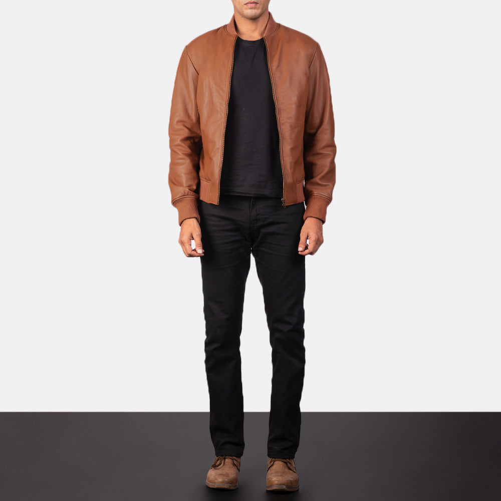 Shane Brown Leather Bomber Jacket