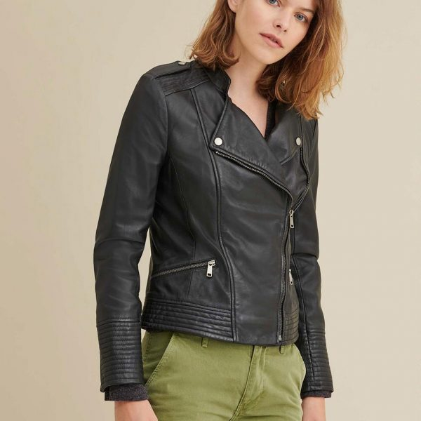 ASYMMETRICAL BLACK LEATHER JACKET FOR WOMEN