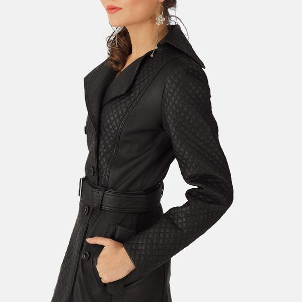 Black Leather Trench Coat for Women