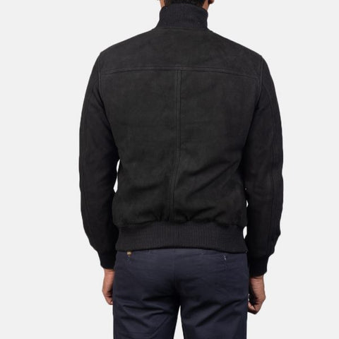 Black Suede Bomber Jacket for Men