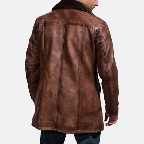 Cinnamon Distressed Leather Fur Coat for Men
