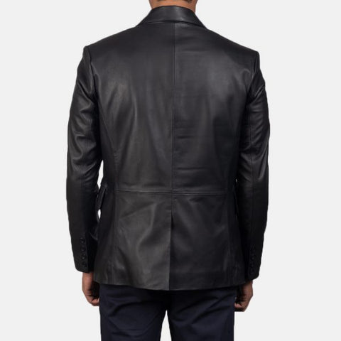 Daron Black Leather Blazer for Men