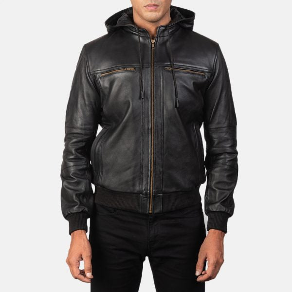 Bouncer Biz Black Leather Bomber Jacket for Men