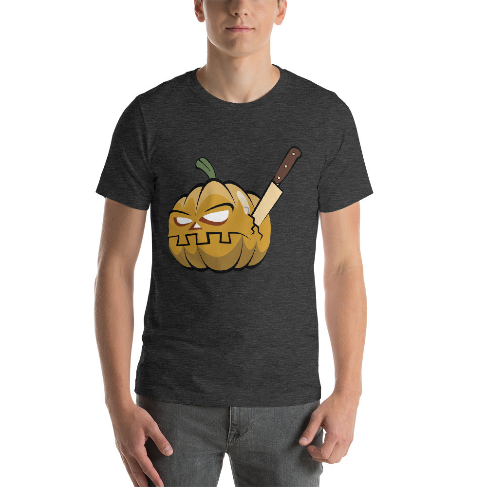 Rigid Face Pumpkin Theme Design With A Knife Stabbed Cool Creative Fabulous Designs