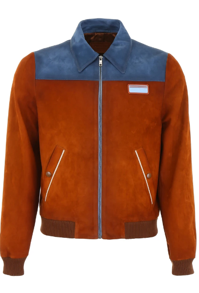 Bicolor Suede Bomber Jacket For Men