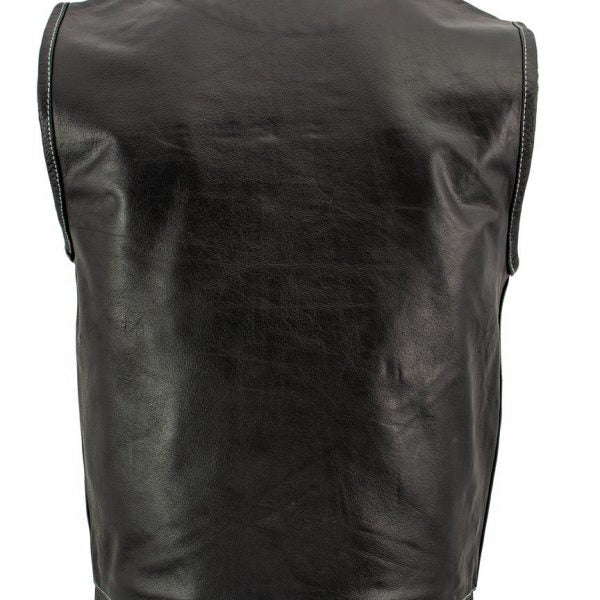 Black Leather Motorcycle Vest with White Stitching for Men