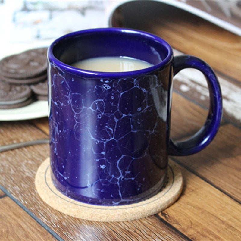 blue and white coffee mugs