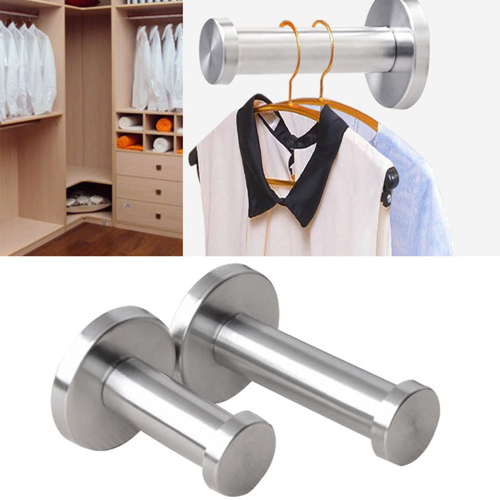 Hook Towel Utility Stainless Steel Strong Bathroom Robe Silver Coat Wall Mount Hook Cylinder #0128