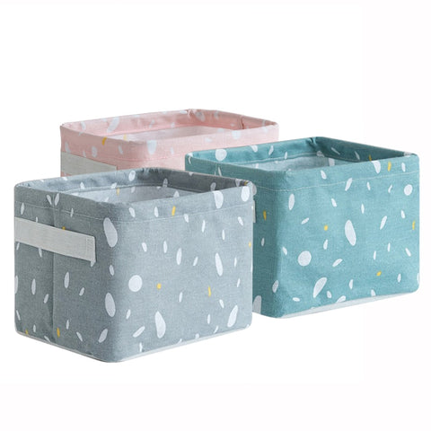Foldable Cotton Linen Sundries Storage Desktop Bed Storage Box Printing Waterproof Organizer Basket Cabinet Cloth Storage Bag