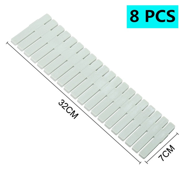 Adjustable Plastic Drawer Divider DIY Storage Shelves Household Free Combination Partition Board Space-saving Division Tools
