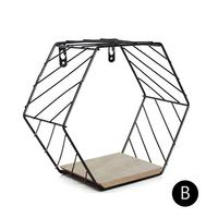Nordic Iron Hexagonal Grid Wall Floating Shelf Combination Wall Hanging Geometric Figure Wall Decoration For Living Room Bedroom