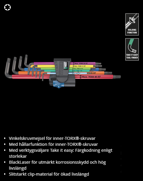 967/9 TORX XL Multicolour HF L-Key hållarfunktion