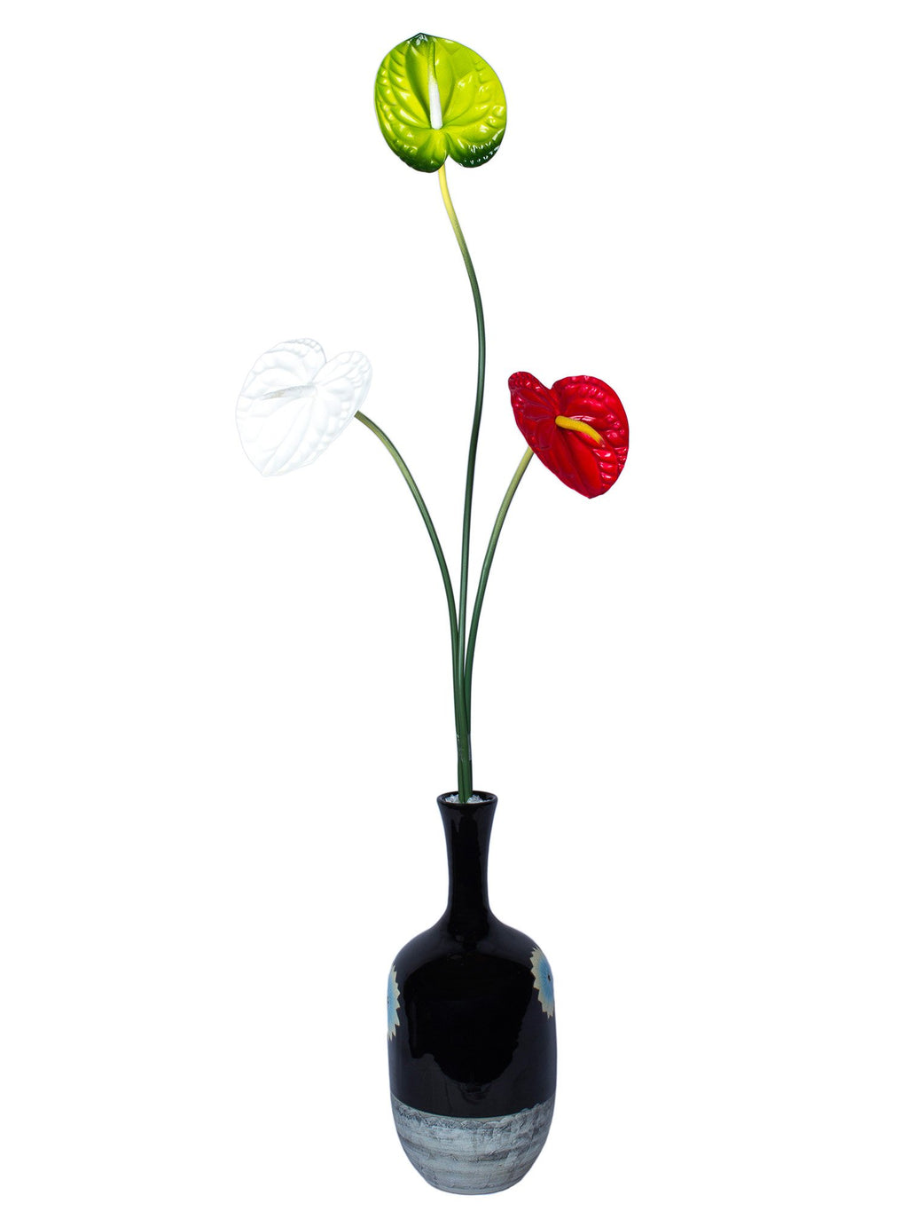 Anthurium Peace Lily Artificial Flower  (30 inch, Pack of 3)