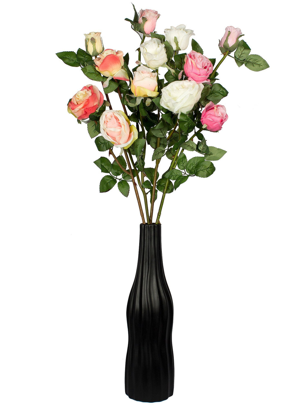 Artificial Flower Beige Rose (41 inch, Pack of 3)