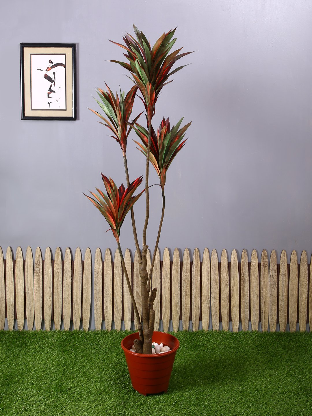 Pollination Decorative White-Green Dracaena Artificial Plant Without Pot for Home Decoration (L 60 cm x H 150 cm)