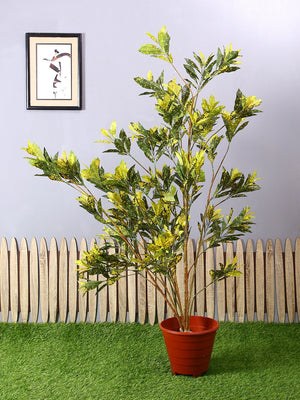 Artificial Yellow Croton Plant Without Pot