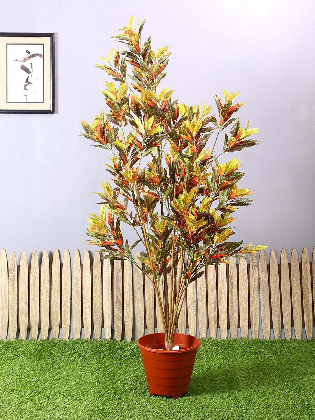 Artificial Croton Plant Without Pot (L 90 cm X H 150 cm )