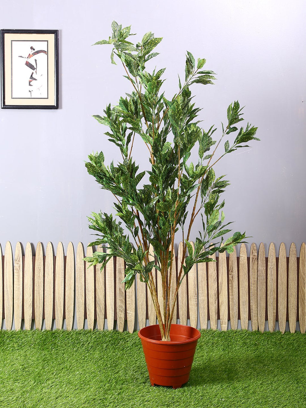 Artificial Green & Yellow Croton Plant Without Pot ( L 90 cm X  150 cm ) - Artificial Flowers & Plants - PolliNation
