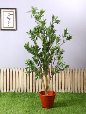 Artificial Green & Yellow Croton Plant Without Pot