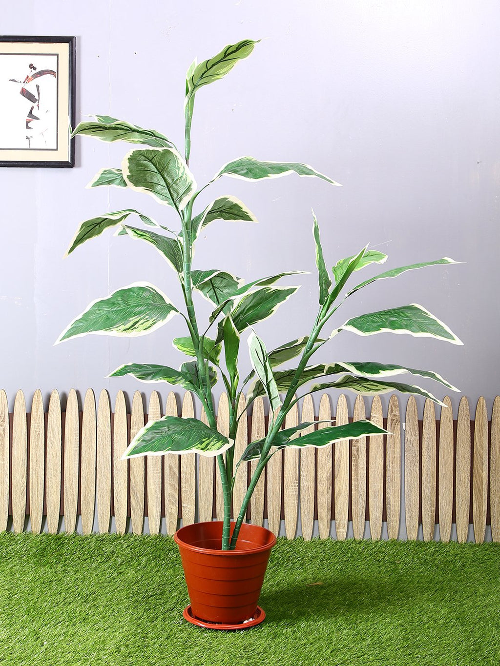PolliNation Hosta Green Artificial Plant Without Pot for Home Decoration (L 100 cm X H 153 cm) - Artificial Flowers & Plants - PolliNation