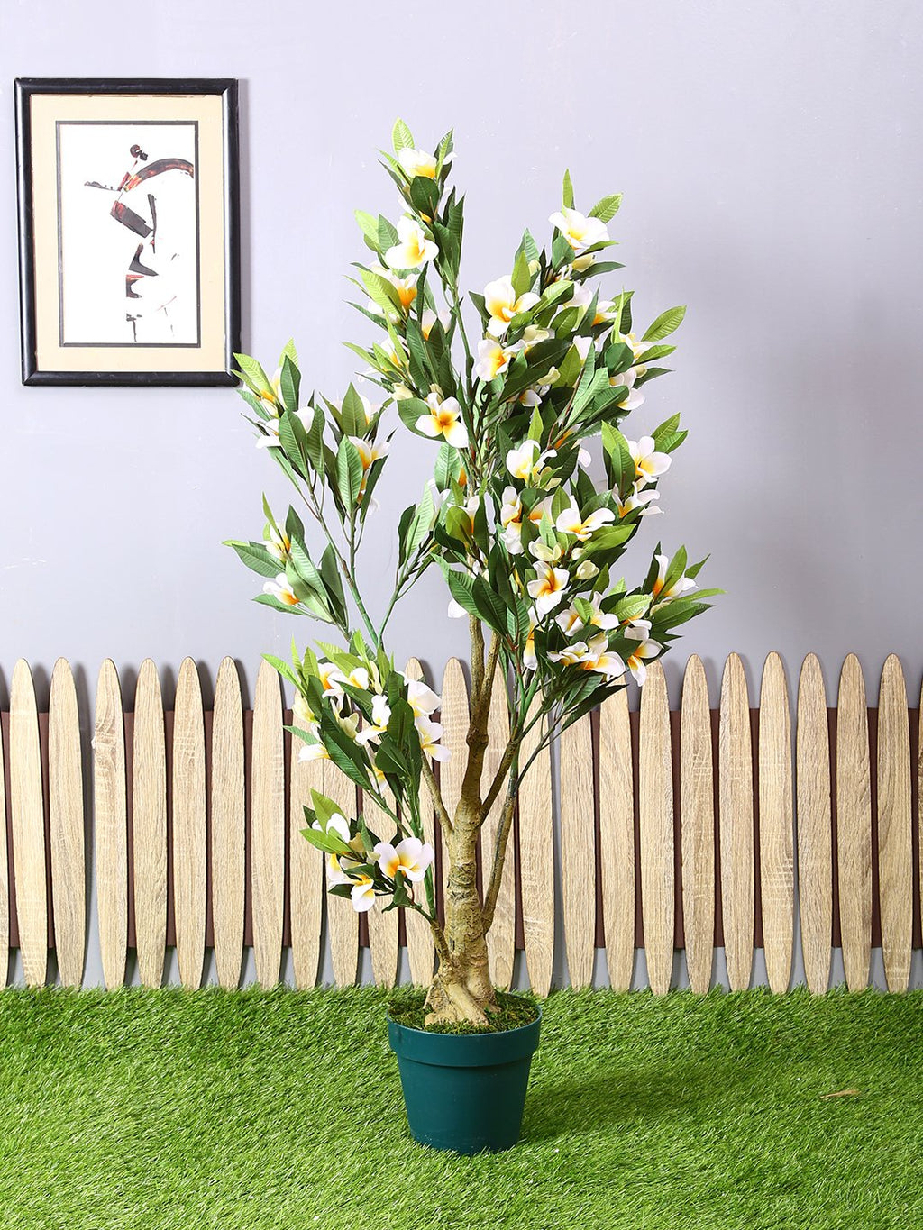 Artificial Frangipani Plant With Pot (L 60 cm X 114 cm ) - Artificial Flowers & Plants - PolliNation