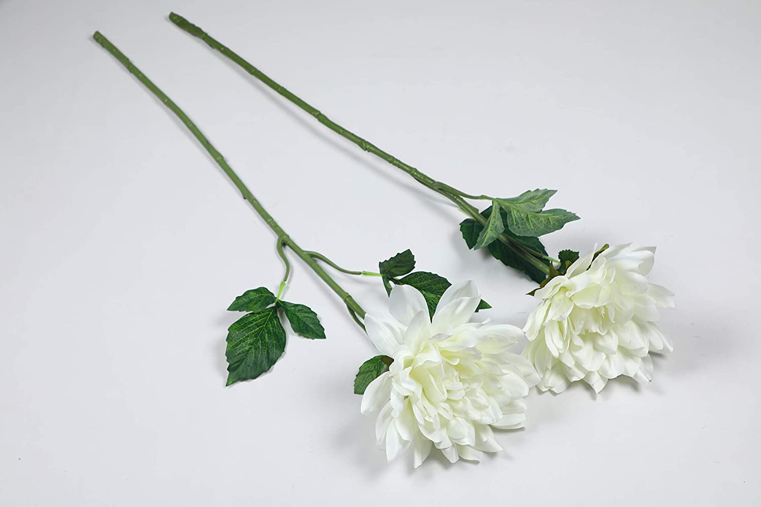 PolliNation Beautiful White Dahlia Artificial Flower (Pack of 2, 34 INCH) - Artificial Flowers & Plants - PolliNation