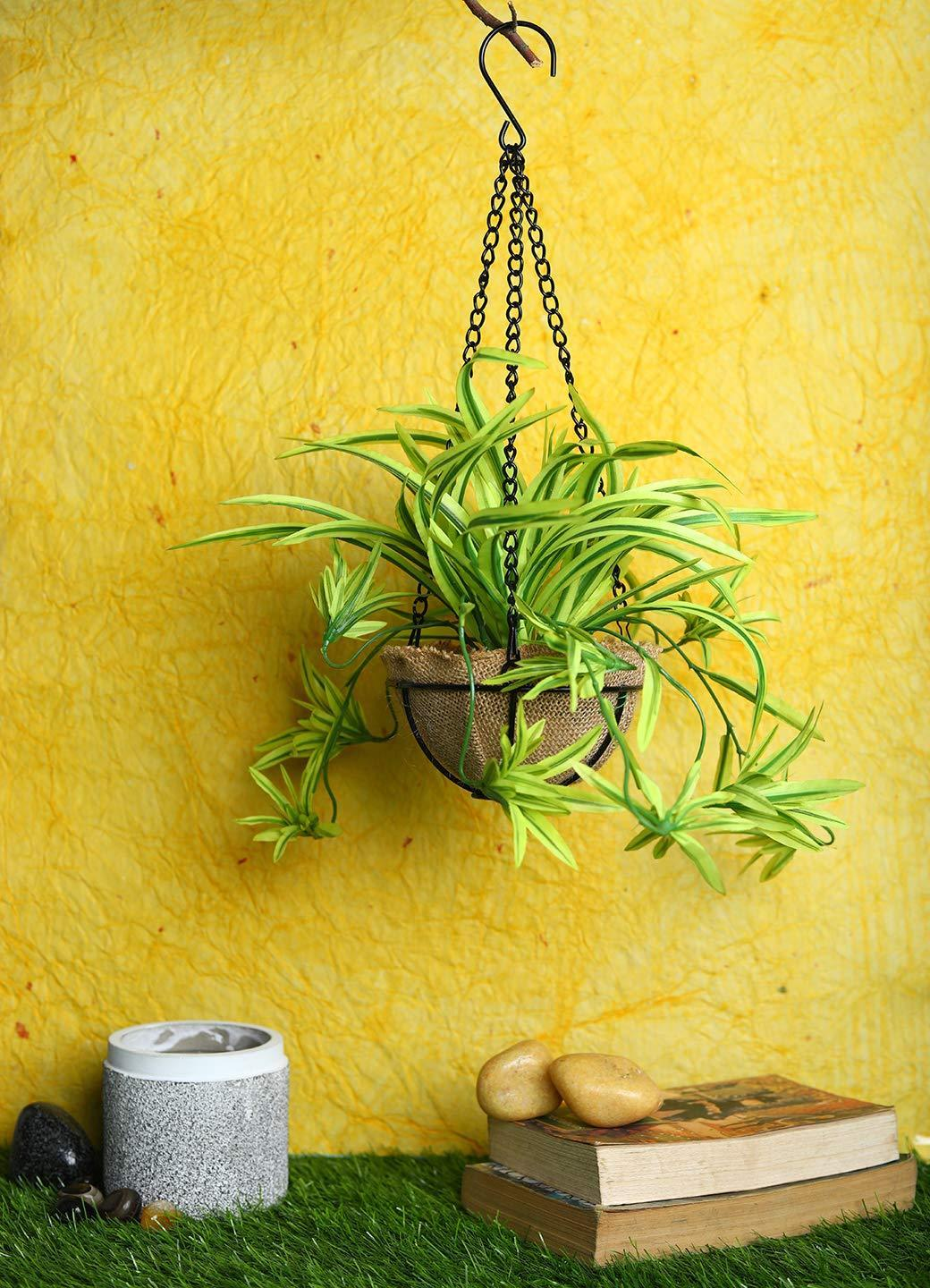 Pollination Artificial Green Baby Spider Bush in Jute Planter with Hanging Metal Stand  (Pack of 1)